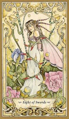 牌里的人物好像是在一个有著历史复古的凉亭中,完成了塔罗牌中角色的